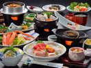 当館自慢の新鮮な海の幸!【夕食料理(冬)】鮑の踊り焼・釜飯を含む海鮮和食御膳の一例(約11品)