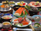 「鮑の踊り焼」「海鮮釜飯」のつた海鮮和食御膳(約11品)