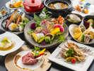 【12~2月特別会席イメージ】鮑やイセエビ、伊予牛などの高級食材を使用した、特別懐石料理。