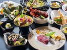 【9~11月特別会席イメージ】鮑やイセエビ、伊予牛などの高級食材を使用した、特別懐石料理。
