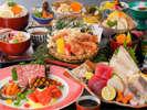 牛ステーキ、フォアグラ、アワビ、雲丹、ロブスター 夢の饗宴会席(一例)
