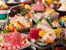 【レストランスタンダード】メインの鉄板焼きは牛又は魚介からチョイスできる(一例)