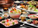 和食会席イメージです。(写真のしゃぶしゃぶは二人盛りです)季節により内容が異なります。