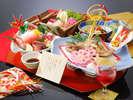 祝い膳~料理イメージ。お一人様づつ尾頭付きの小鯛の焼き物をご用意いたします
