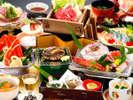 鮑付会席コース、新鮮なお造り盛り合せや特製源泉蒸しなど、美味満点のご夕食をどうぞ!