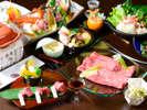 特選近江牛しゃぶと三種陶板焼き。恵みの美味会席プラン(イメージ)
