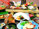 『豪華平目の板盛プラン』夕食メニューの全体例※当館の人気NO.1メニューです♪