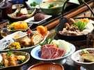 【夕食】一番人気の囲炉裏料理コースではあか牛や大阿蘇鶏も味わえます/例