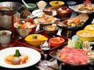 四季替り冬会席山形牛のすき鍋、名物ジャンボマッシュルームの香味焼きなど、全12品