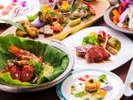 """【フルコース(一例)】""""旬の魚×ステーキ""""を""""天然の珍しい山食材""""で優雅に織りなす♪"""