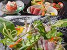 夏の味覚鮎の姿づくりと季節の会席料理