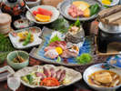 ◆【土佐和牛会席】高知が誇るブランド牛を、食べやすいサイコロステーキ♪焼きたてを楽しめる陶板焼きで!