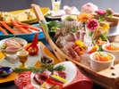 目にも鮮やか♪当館人気No1「とれピチ会席」のお料理例