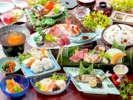 【夏の宝石箱会席】小鯛の姿造り・鱧しゃぶ・岡山和牛と鮑の陶板焼