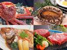 冬のグレードアップ会席は姿ガニ・鮑踊り焼き・牛フィレロース・ノドグロ煮付けからメインを1つ選べます