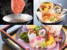 春のスタンダード会席一例:造り、前菜、鳥取県産黒毛和牛チョイス 溶岩石焼orすき焼き