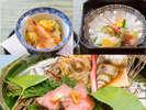 秋の控え目会席一例:揚胡麻豆腐、県魚平目の薄造り、のど黒松茸包み焼鳥取牛ロース網焼