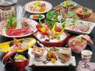 <お夕食>鮮魚お造り3種×特選牛しゃぶ★甘鯛木の芽焼など季節の旬会席11品★