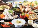 ◆舟盛付とらふぐ会席◆とらふぐ、鮑、旬菜など、春を彩る豪華料理をどうぞ[一例]