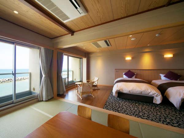 【和洋室】和洋のよさを活かしたお部屋。窓から一面に広がる海は絶景です。