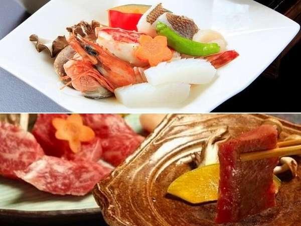 【カップルにオススメ】山形牛陶板焼き膳、海鮮陶板焼き膳を各1人前ずつご用意! ※イメージ