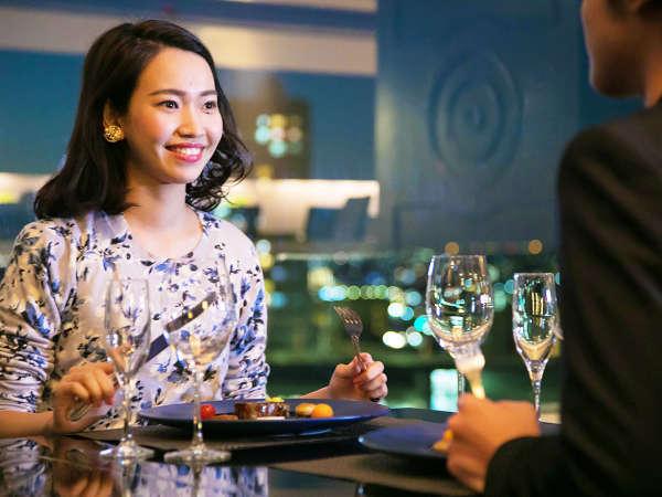【2食付】◆選べる洋食コース◆感動!明石海峡大橋の美景♪『最上階』レストランから眺める素敵な夜