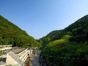 不動の滝まで徒歩10分。早起きして散策を楽しむ人も多い。(3階からの眺め)