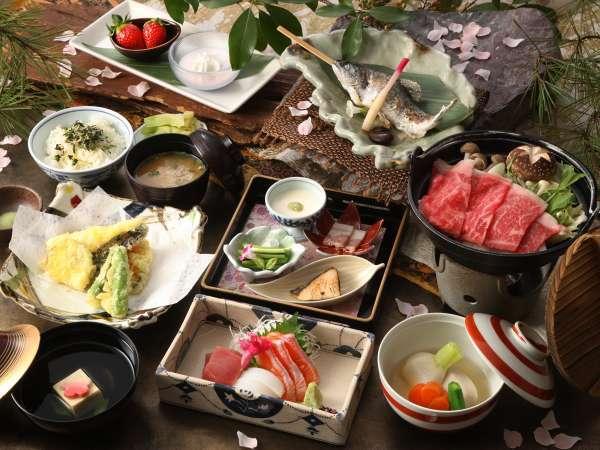 【日本料理やまぼうし】地元素材を中心に、厳選した山川の恵の和会席をご用意しております
