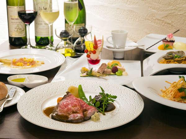 【夕食】旬の食材を使った洋食フルコースをご用意しております。