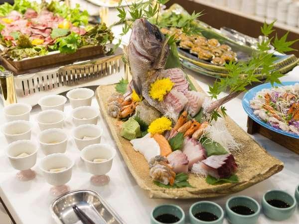 ■夕食(ハ゛イキンク゛)/ビュッフェではお刺身も各種準備予定。