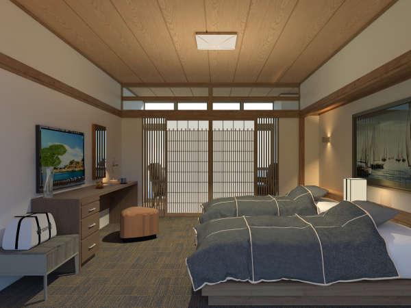 3名様までご宿泊いただける40平米の広さのオーシャンツイン。全室から軍艦島を望むことが出来ます。
