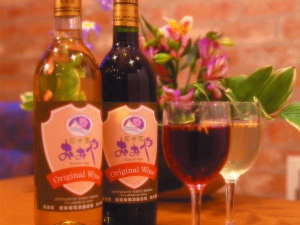 おおやラベルワインお食事の際、お申し付けください。売店でも販売中♪