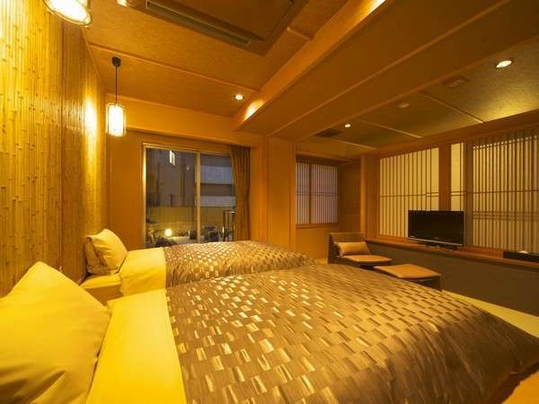 和モダン和洋室410号室ベッドルーム全景