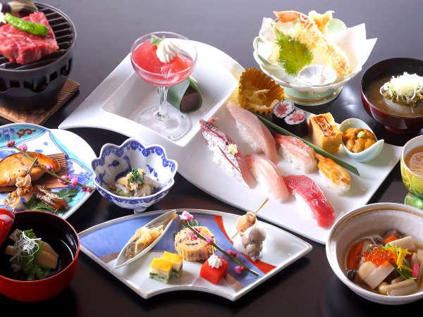 【新鮮にぎり寿司】&【黒毛和牛】が両方食べられる!≪すし会席≫プラン(特典:IN14時/OUT11時)
