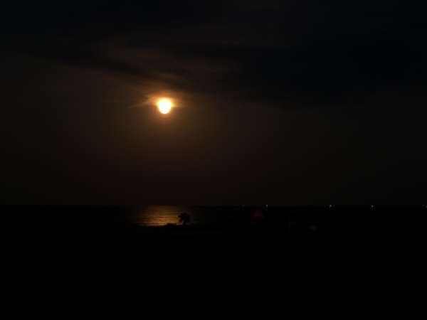満月が海とお部屋を照らします