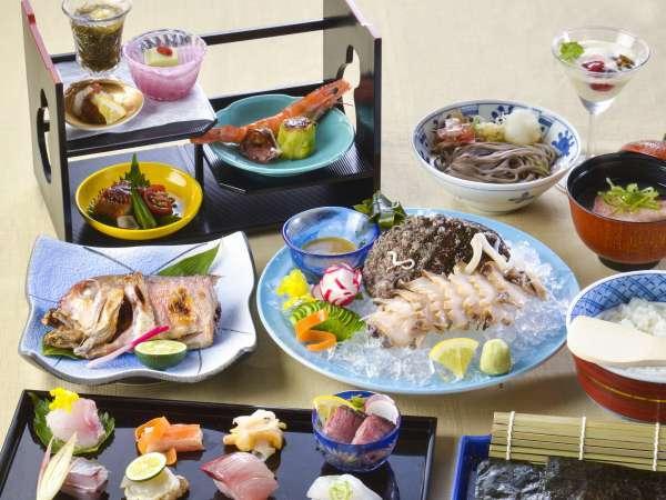 手巻き寿司と地鮑造りの特撰御膳