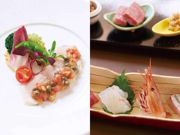 和・洋それぞれのレストランを完備。御前崎のお魚をはじめ、地産地消のお料理をお楽しみいただけます。