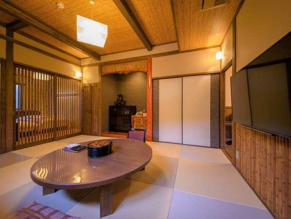 露天風呂付離れ『野蒜』湯布院の優しい自然がつつむ静かな空間で、ゆったりとした時間をお過ごしください。