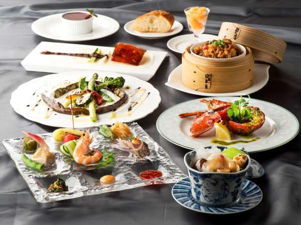 27F「唐紅花&蒔絵」シェフ&シェフ(中国料理&鉄板フレンチ)料理イメージ※季節ごとに替わります