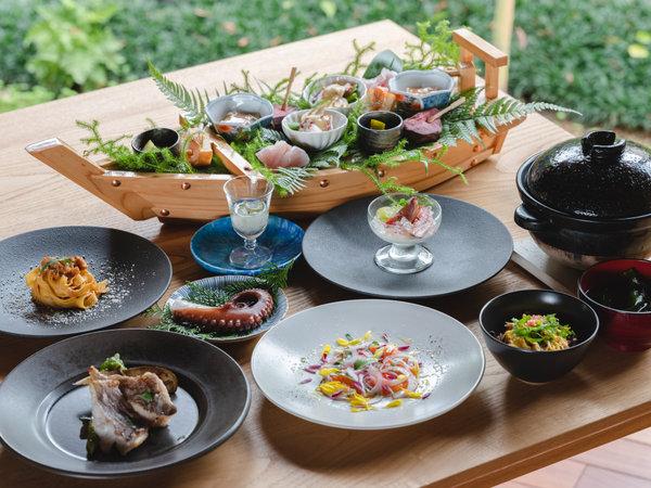 若狭の恵みを味わう、志積ならではの料理をコースでご提供。※メニューは写真の料理から変更の可能性あり。
