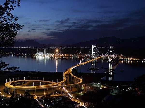白鳥大橋と工場夜景