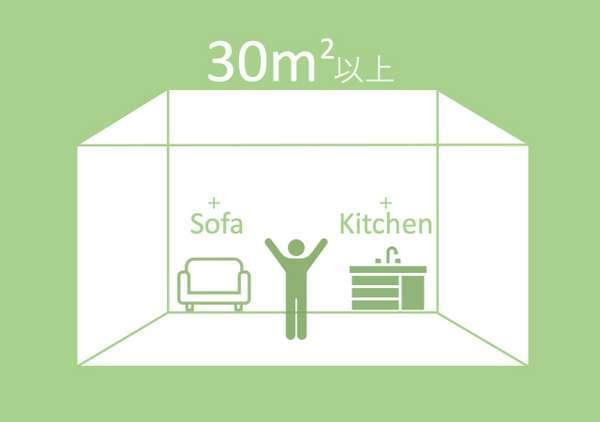 30㎡以上、ソファーあり、キッチンあり