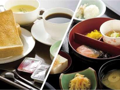 ご朝食は和食にしたり洋食に盛付けたり、その日の気分で。ハーフバイキング
