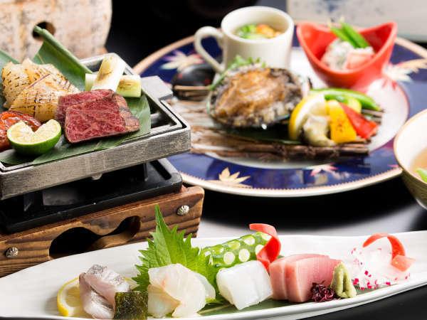 ■夕食広間■【人気No.1】春のゆるり旅♪<活鮑ステーキ&鳥取ブランド和牛>創作会席で極上の味わい♪