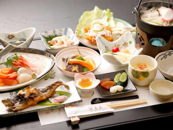*夕食一例/新鮮なニジマスを焼き、揚げ、ぬた、刺身、鍋物と、色々なお料理で堪能できます。