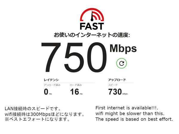 F101、F102、F103、F205、F206、F208のお部屋は高速インターネットをご利用いただけます。