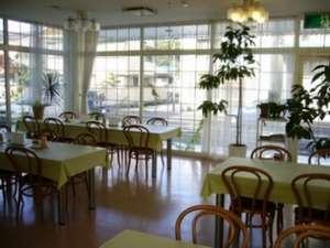昼間は緑を添えた、清潔感溢れる喫茶スペース♪