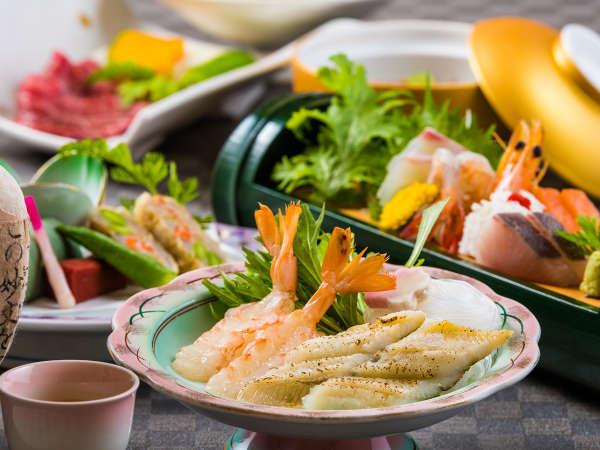 夏の味覚、焼き穴子のだし鍋と近江牛陶板焼きがメインの会席プラン
