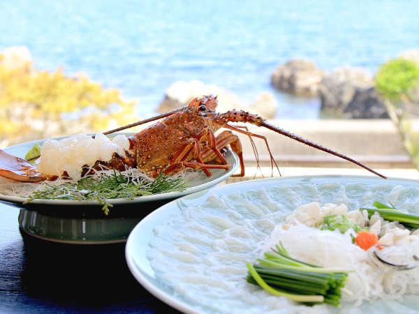 【フグと伊勢海老会席】お部屋からは臼杵湾を眺める事ができます。ごゆっくりとお食事をお楽しみ下さい