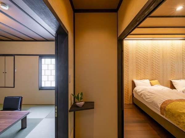 2F和洋室<雅-miyabi>は、和室8畳+ベッドルーム+トイレ・洗面が付いたゆったりとした間取りです。